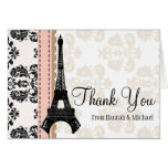 PINK AND BLACK DAMASK EIFFEL TOWER THANK YOU NOTE CARD