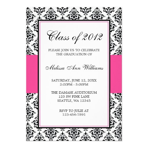 Pink and Black Damask Graduation Announcement