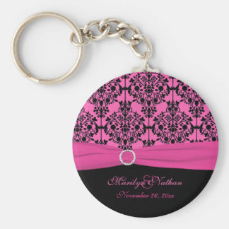 Pink and Black Damask Keychain
