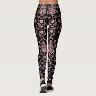 Pink and Black Damask Leggings