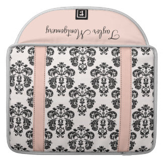 Pink and Black Damask MacBook Pro Sleeve with Flap