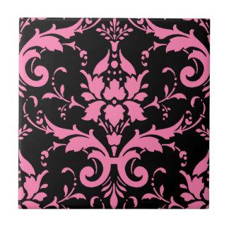Pink and Black Damask Matching Kitchen Tile