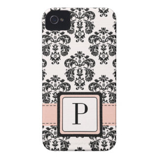 Pink and Black Damask Monogrammed Blackberry Bold iPhone 4 Cover