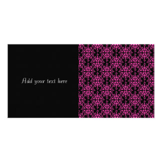 Pink and Black Damask Pattern Customised Photo Card