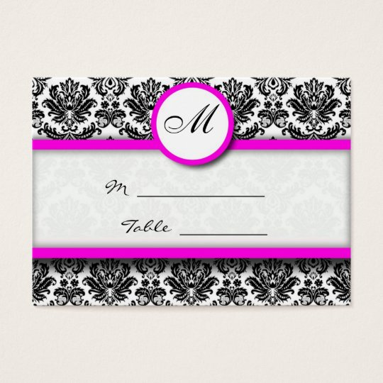 Pink and Black Damask Place Card