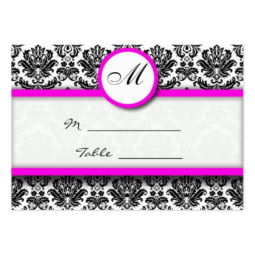 Pink and Black Damask Place Card Pack Of Chubby Business Cards