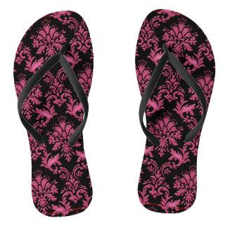 Pink and Black Damask Print Thongs