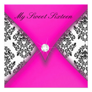 Pink and Black Damask Sweet Sixteen Invites
