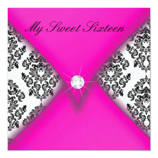 Pink and Black Damask Sweet Sixteen 13 Cm X 13 Cm Square Invitation Card