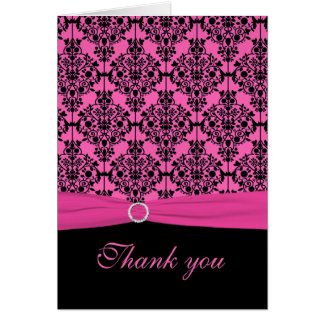 Pink and Black Damask Thank You Card