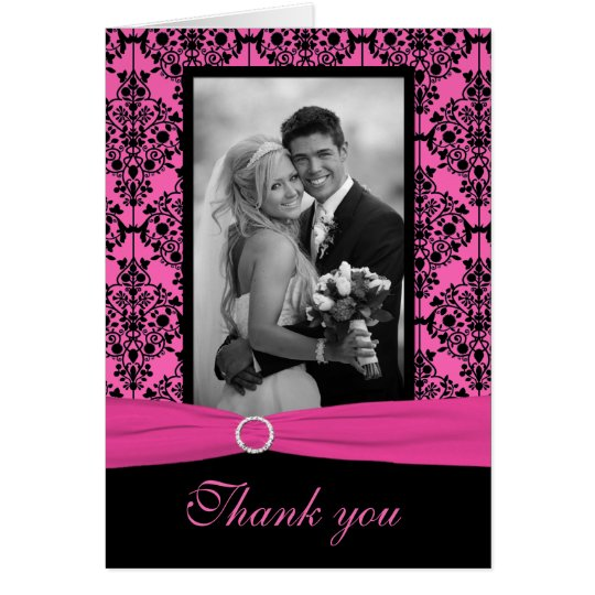 Pink and Black Damask Thank You Card with Photo
