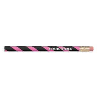 Pink and Black Diagonal Stripes Add Your Name Pencil