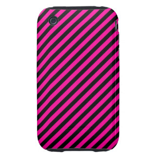 Pink and Black Diagonal Stripes Tough iPhone 3 Cover