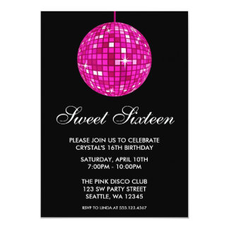Pink and Black Disco Ball Sweet Sixteen Birthday Card