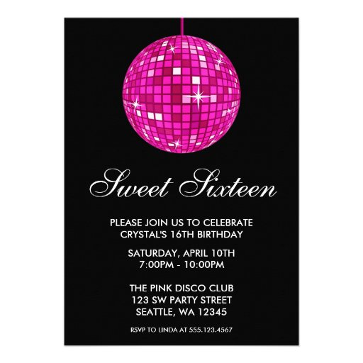 Pink and Black Disco Ball Sweet Sixteen Birthday Invitation