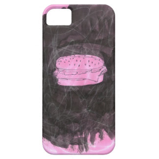 Pink and Black Drawing/Painting of a Cheeseburger iPhone 5 Cases
