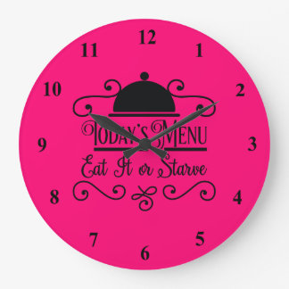 Pink and Black Eat it or Starve Large Clock