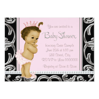 """Pink and Black Ethnic Baby Shower 5"""" X 7"""" Invitation Card"""