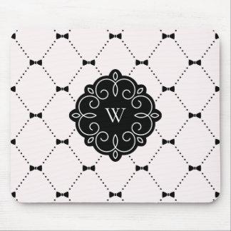 Pink and Black Feminine Bows Pattern Monogram Mouse Pad