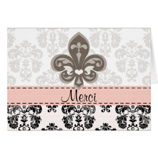 Pink and Black Fleur de Lis Merci Thank You Cards