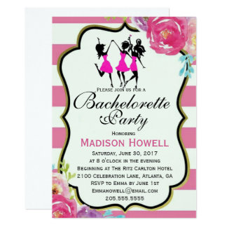Pink and Black floral Bachelorette invitation