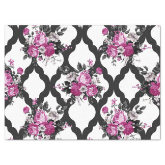 Pink and Black Floral Flower Rose Gift Tissue Paper