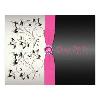 Pink and Black Floral Sweet 16 Party RSVP Card
