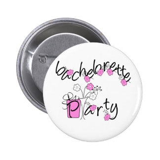 Pink and Black Flowers Bachelorette Party 6 Cm Round Badge