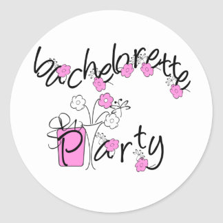 Pink and Black Flowers Bachelorette Party Classic Round Sticker