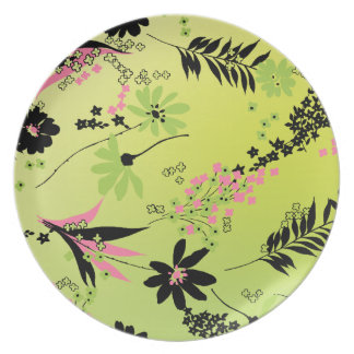 Pink and Black Flowers Dinner Plate