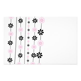 Pink and black flowers pattern personalized stationery