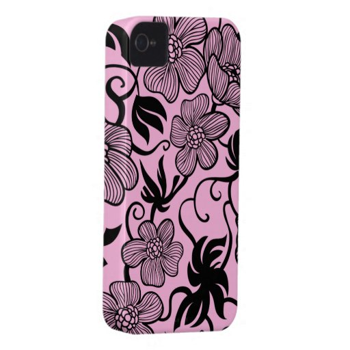 Pink and black flowers stylish blackberry bold blackberry bold cases