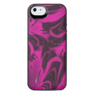 Pink and black fractal iPhone SE/5/5s battery case