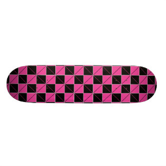 Pink and Black Geo Plaid Skateboard