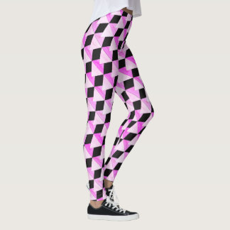 Pink and Black Geometric Pattern Leggings