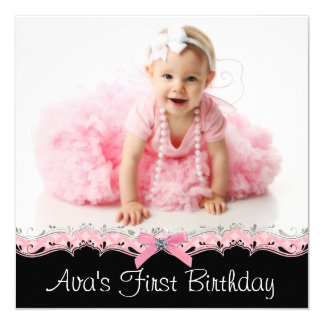Pink and Black Girls Photo Birthday Party 13 Cm X 13 Cm Square Invitation Card