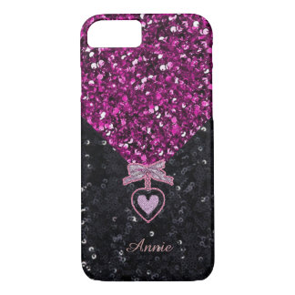 Pink and Black Glitters iPhone 7 Case