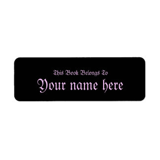 pink and black gothic bookplate return address label