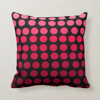 Pink and Black Gradient Ombre Polka Dot Cushion