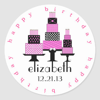 Pink and Black Happy Birthday Cakes Round Sticker