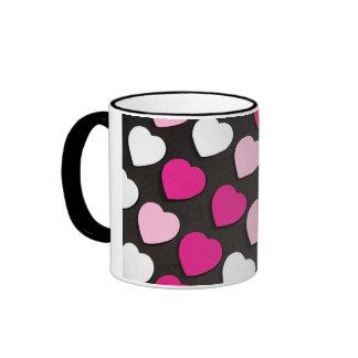 Pink and black hearts pattern coffee mug