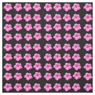Pink And Black Hibiscus Flower Cotton Material Fabric
