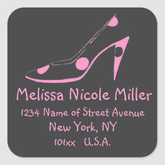 Pink and Black High Heel Shoe address label Square Sticker