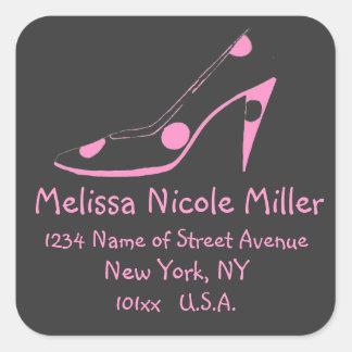 Pink and Black High Heel Shoe address label Square Sticker