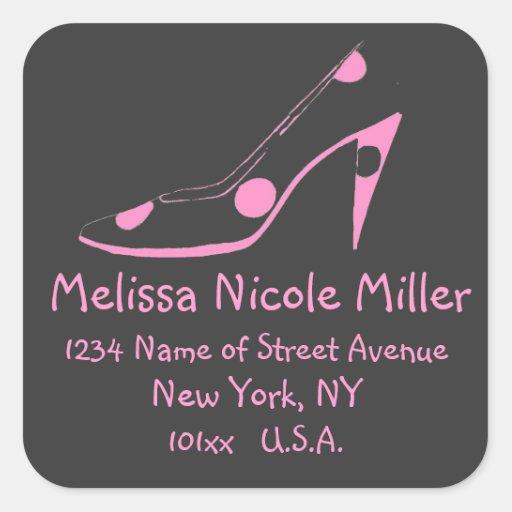 Pink and Black High Heel Shoe address label Sticker