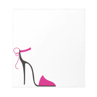 Pink and Black High Heel Shoe Strappy Notepad