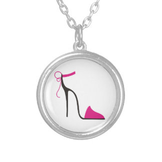 Pink and Black High Heel Shoe Strappy Round Pendant Necklace
