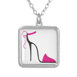 Pink and Black High Heel Shoe Strappy Silver Plated Necklace