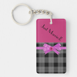 Pink and Black Just Married Keychain