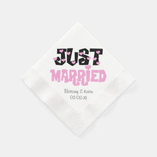 Pink and Black Just Married Paper  Napkins Disposable Napkin